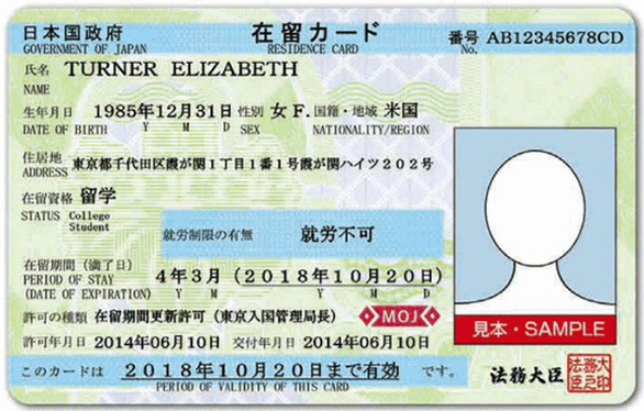 Thẻ lưu trú tại Nhật